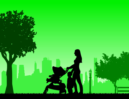 mammy: Mother walking with her children in park, one in the series of similar images silhouette