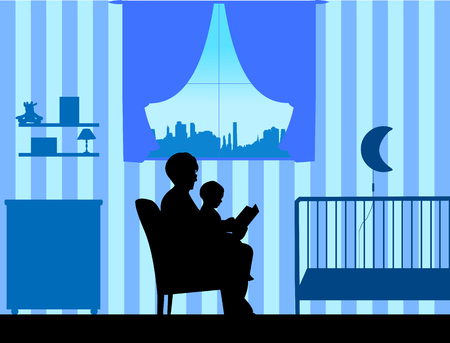 Grandmother reading his grandson a bedtime story in the room, one in the series of similar images silhouette