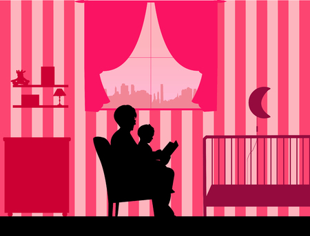 toy story: Grandmother reading his granddaughter a bedtime story in the room, one in the series of similar images silhouette