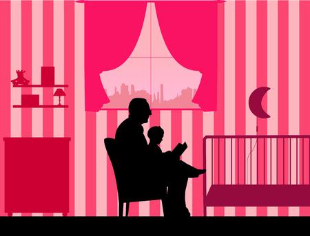 彼の孫娘と同様のイメージ シルエットのシリーズの一つ部屋で就寝時間の物語を読んでの祖父