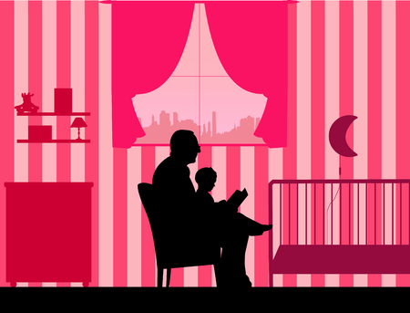 Grandfather reading his granddaughter a bedtime story in the room, one in the series of similar images silhouette