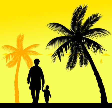 similar: Grandmother walking with her grandson on the beach, one in the series of similar images silhouette