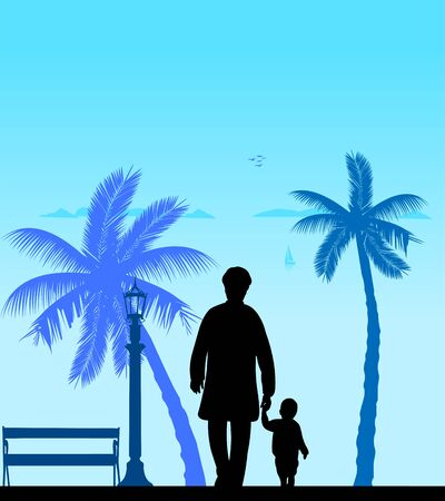 Grandmother walking with her grandson on the beach, one in the series of similar images silhouette