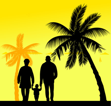 similar: Grandmother and grandfather walking with grandchild on the beach, one in the series of similar images silhouette