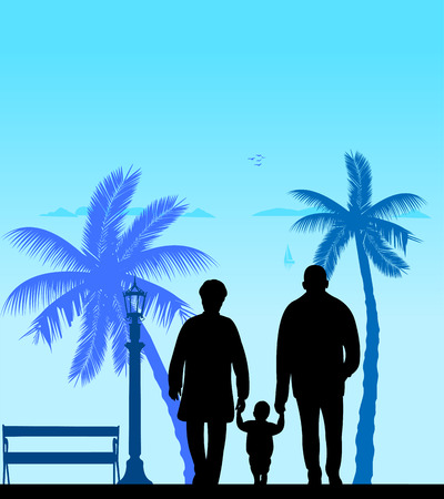 Grandmother and grandfather walking with grandchild on the beach, one in the series of similar images silhouette