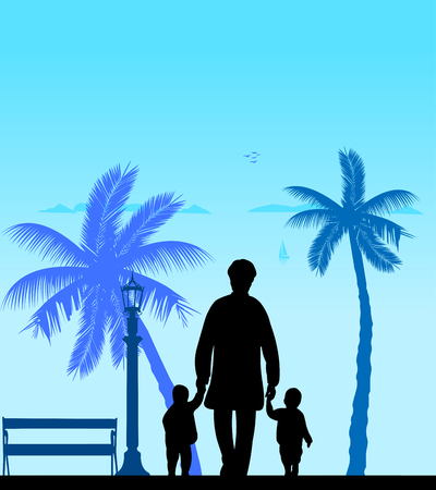 Grandmother walking with grandchildren on the beach, one in the series of similar images Illustration