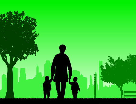 Grandmother walking with grandchildren in the park, one in the series of similar images silhouette Illustration