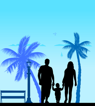 Family walking with their child on the beach, one in the series of similar images silhouette Illustration
