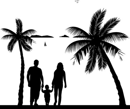 one child: Family walking with their child on the beach, one in the series of similar images silhouette Illustration