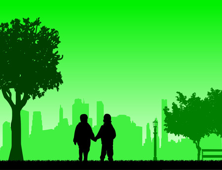 Boys together to walk in the park, one in the series of similar images silhouette.