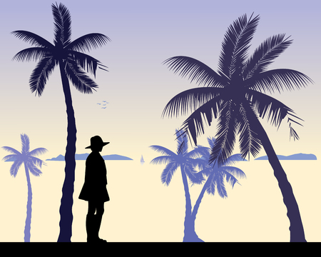 one girl: Young sexy girl is standing and waiting for someone on the beach, one in the series of similar images silhouette. Illustration