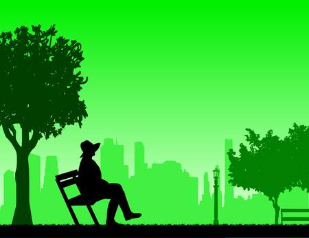 similar: Young sexy girl sitting in the park on a bench and waiting for someone, one in the series of similar images silhouette. Illustration