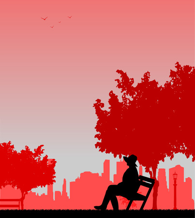 one girl: Young sexy girl sitting in the park on a bench and waiting for someone, one in the series of similar images silhouette. Illustration