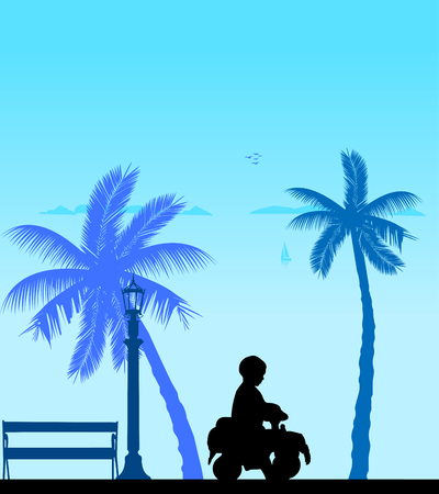 Boy driving a toy car on the beach, one in the series of similar images silhouette