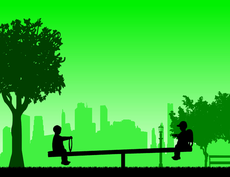 The boys are bouncing on the childrens playground on the teeter,one in the series of similar images silhouette