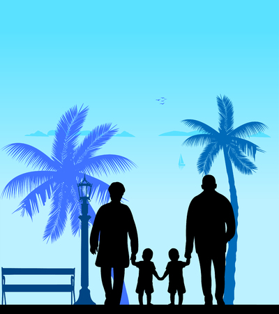 Grandmother and grandfather walking with grandchildren on the beach, one in the series of similar images