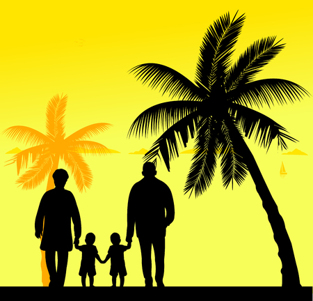 similar: Grandmother and grandfather walking with grandchildren on the beach, one in the series of similar images