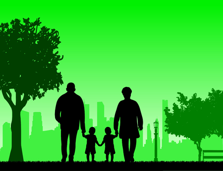 Grandmother and grandfather walking with grandchildren in park, one in the series of similar images Illustration