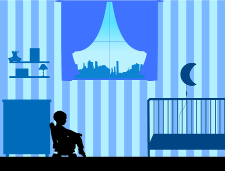A little boy pee or poo on potty, one in the series of similar images silhouette Illustration