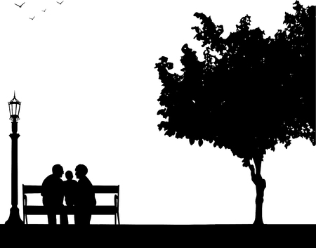 Grandmother and grandfather siting with grandchild in park, one in the series of similar images silhouette