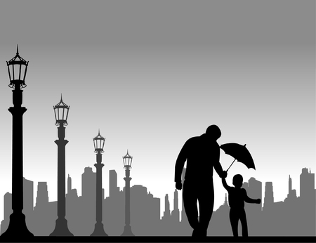 Father walking with his child on the street with umbrella, one in the series of similar images silhouette