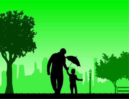 Father walking with his child in the park with umbrella, one in the series of similar images silhouette Stock fotó - 87766399