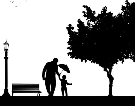 Father walking with his child in the park with umbrella, one in the series of similar images silhouette Stock fotó - 87766478