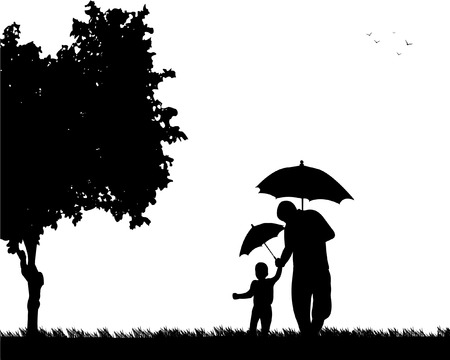 Father and child walking in the park with umbrellas, one in the series of similar images silhouette Фото со стока - 87766728