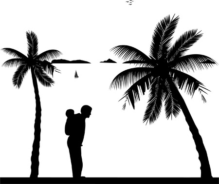 Father carrying a child piggyback on the beach, one in the series of similar images silhouette