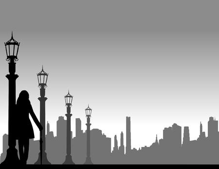 若いセクシーな女の子が立っていると路上で、同様のイメージ シルエットのシリーズで一つの傘で誰かを待って  イラスト・ベクター素材