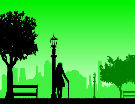 Young sexy girl is standing and waiting for someone with umbrella in park, one in the series of similar images silhouette Illustration