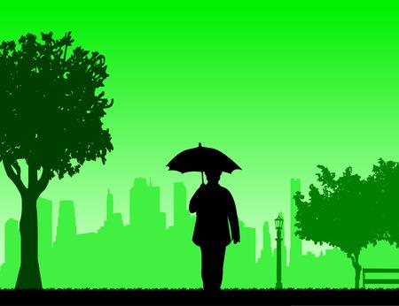 Belle femme âgée à la retraite qui marche sous le parapluie dans un parc en automne ou en automne, une dans la série d'images similaires