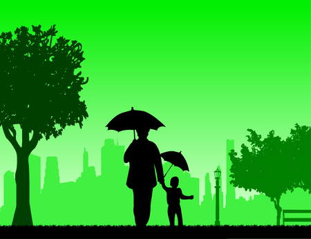 Grandmother walking with her grandson under the umbrellas in the park, one in the series of similar images silhouette