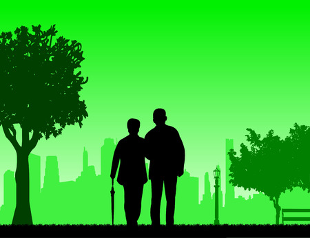 Lovely retired elderly couple walking with umbrella in park in autumn or fall, one in the series of similar images silhouette Illustration