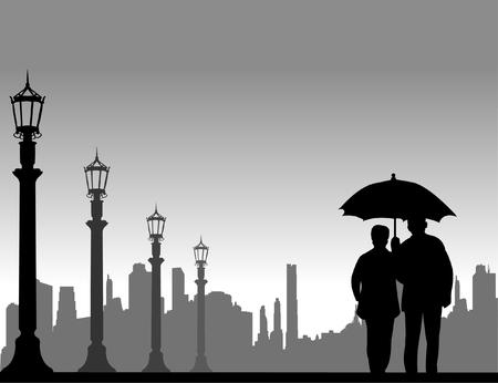 素敵な秋または秋の通り、似たようなイメージのシルエットのシリーズの 1 つの傘の下で歩く老夫婦を引退しました。