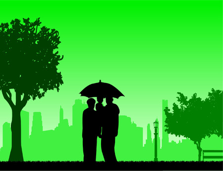 Grandmother and grandfather walking under umbrella with grandchild in park, one in the series of similar images silhouette