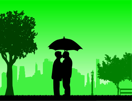 Lovely retired elderly couple standing and kissing under the umbrella in park in autumn or fall, one in the series of similar images silhouette Illustration