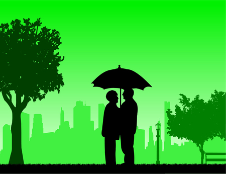 Lovely retired elderly couple stands under the umbrella in park in autumn or fall, one in the series of similar images silhouette Illustration