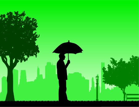 similar: Lovely retired elderly man walking under the umbrella in park in autumn or fall, one in the series of similar images silhouette Illustration