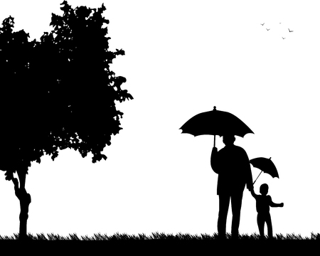 Grandfather walking with his grandson under the umbrellas in the park, one in the series of similar images silhouette Vectores