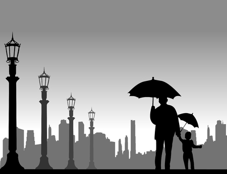 Grandfather walking with his grandson under the umbrellas on the street, one in the series of similar images silhouette