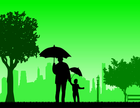 Grandfather walking with his grandson under the umbrellas in the park, one in the series of similar images silhouette Illustration
