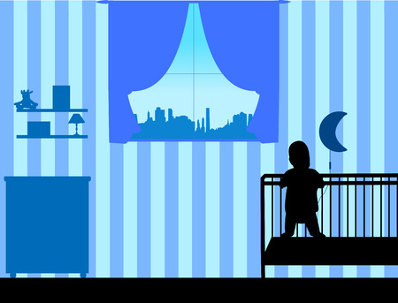 The baby boy is standing in the crib in the childrens room, one in the series of similar images silhouette