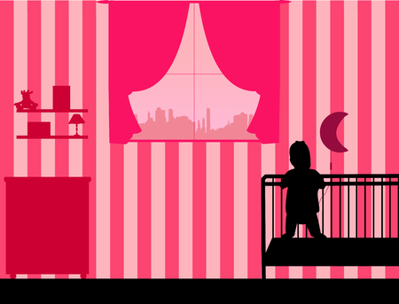The baby girl is standing in the crib in the childrens room, one in the series of similar images silhouette