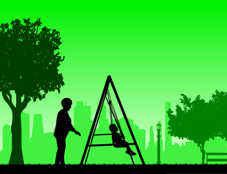 similar: Grandmother swinging grandchild on a swing in the park, one in the series of similar images silhouette Illustration