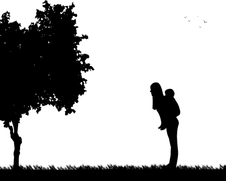 Mother carrying a child piggyback in park Illustration