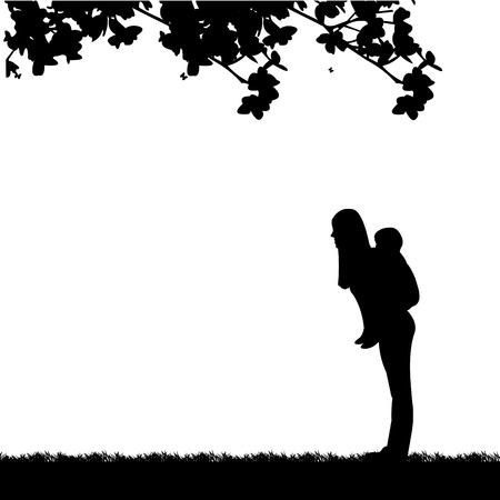 Mother carrying a child piggyback in park, one in the series of similar images, silhouette Illustration