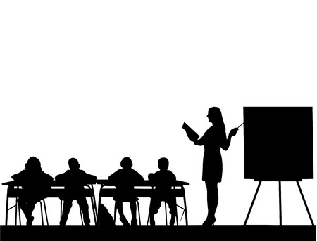 Young sexy school teacher with book in the class, teach your students silhouette, one in the series of similar images Иллюстрация