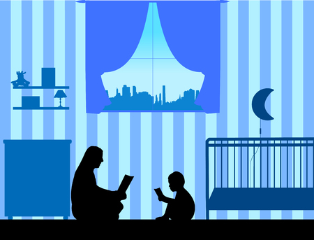 Mother and her son read stories silhouette, one in the series of similar images
