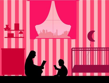 Mamãe e sua filha leram silhueta de histórias, uma na série de imagens semelhantes